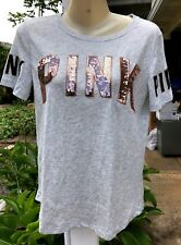 NWT VICTORIA SECRET PINK Gold Sequin Bling Gray Perfect Crew Tee Shirt XS NEW