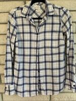 J. Crew Womens XS Blue/white Plaid Long Sleeve Flannel Button Up Shirt