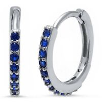 Sapphire Huggie Hoop Earrings in Solid Sterling Silver -  SEPTEMBER BIRTHSTONE