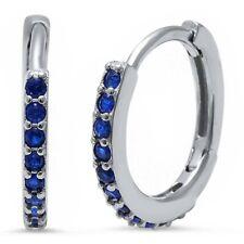 Sapphire Huggie Hoop Earrings in Solid Sterling Silver -  SEPTEMBER BIRTHSTONE
