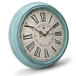 NEW Paisley Vintage Roman Wall Clock, Blue, 40cm