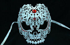 Luxury Metal Skull Venetian Masquerade Mask for Uni-sex M7153 [White]