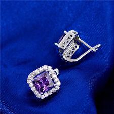 1 Pair Women Ladies Purple CZ Crystal Earrings Silver Plated Pierced Earrings