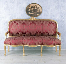 BAROCKSOFA ROT SALONSOFA BAROCK Sofa SITZBANK GOLD COUCH Palazzo24-de LOUISXV