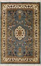 Rugstc 4x6 Pak Persian Blue  Rug, Hand-Knotted,Pictorial Hunting with Silk/Wool