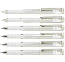 Pentel K230 Hybrid White Gel Grip DX Pen 1.0mm Metallic  Pigment Ink - Pack 6
