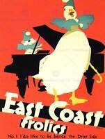 TRAVEL EAST COAST FROLIC UK GOOSE MOUSE PIANO COOL ART PRINT POSTER BB7496B