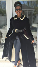 Rare Mint Genuine Period Full length Black Velvet & Ermine fur Coat Jacket XS-S