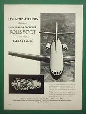 5/1960 PUB ROLLS ROYCE CARAVELLE TURBO REACTEUR UNITED AIR LINES AVON FRENCH AD