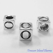 LETTER O .925 Solid Sterling Silver ALPHABET 7mm BLOCK BEAD, 5mm Hole Diameter