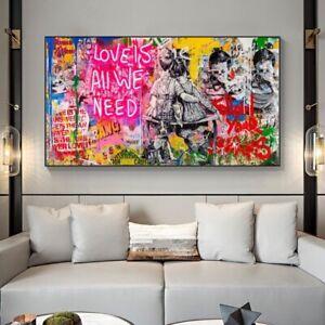 20 x 40 cm Graffiti Street Art Canvas Print Home Decor Modern Banksy Poster