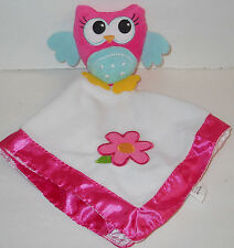 Dan Dee Pink Plush Owl Security Blanket Baby Girl Lovey Flower Teal Green 13x15