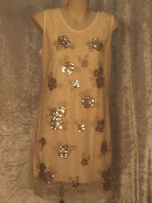 1920's Gold Embroidered & Sequin Flower Shift Dress