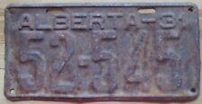 Alberta 1931 License Plate # 52-545