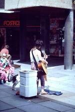 Vintage Kodachrome Slide Negative Street Performer, Lady Singer Playing Guitar