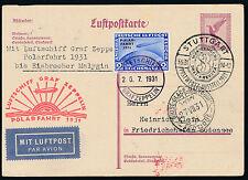 Zeppelin Polarfahrt 1931 2 RM Polarfahrt seltene Bordpostetappe (S12557)