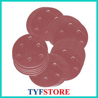 5in 125mm 6 hole 320 Grit Sandpaper Sanding Disc Rotary Hook Loop Sander  100pcs