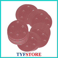 100PC 125mm Abrasive Sand Paper Sanding Disc 6 hole Hook Loop with Grits 60
