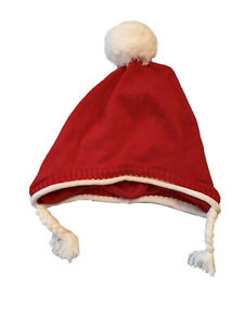 3-6 mos Baby Hat Holiday Christmas Red White Lined 100% Cotton