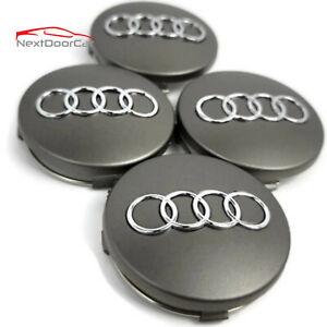 4 Pcs, Audi Wheel Center Cap Gray Chrome Logo 60 MM - A3, A4, A6, A8, TT, Q7, S4