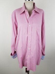 TED BAKER Mens 16.5 34/35 Pink Striped Blue Flip Cuff Spread Collar Shirt