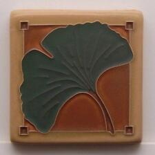 4x4 Arts & Crafts Gingko Tile in Green Oak by Arts & Craftsman Tileworks