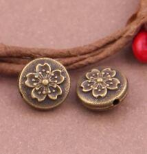 10pcs-9mm flower flat beads, bronze tone space beads, brass stopper beads