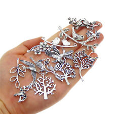 15 pcs Assorted Mix Vintage Metal Bird and Tree Charms Pendants Jewelry Findings
