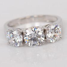 Certified 14K White Gold 2.15Ct Round Cut White Diamond 3 Stone Engagement Ring