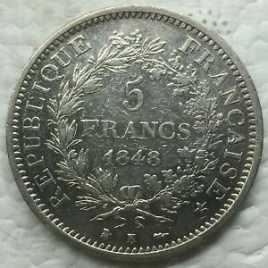 FRANCIA 1848 -K HERCULE 5 FRANCS FRANCOS MONEDA PLATA Escasa MBC+