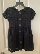 Zara Kids Black Eyelet Button Front Dress Short Sleeve Pockets Girls Size 5