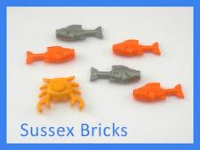 Lego Animal - 5 x Fish Salmon + Crab - Food - Castle City Pirates Hobbit - NEW