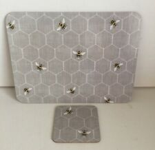 Bee Honeycomb Placemats & Coasters 6 Tablemats 6 Coasters Cork Backed Dining