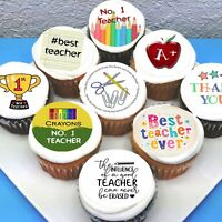 """Teacher Themed Edible Icing Cupcake Toppers - 2"""" - PRE-CUT - Sheet of 15"""