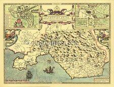 Glamorgan CARDIFF John speed Full Size Print  Replica Old map c1610.Welsh GIFT