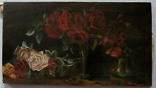 Rosen weiße und rote  Antikes Ölgemälde auf Leinwand  Rosenstillleben
