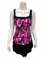 Fit 4 U Women's Square Neck Tankini Swimsuit with Short Purple Multi 20W Size