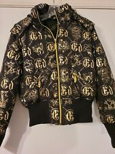 Ed Hardy Christian Audigier Hooded Bomber Jacket Zip Front Bling Black/Gold L