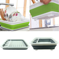 Folding Kitchen Drain Rack Dish Cutlery Storage Box Drainer Stand Cup Holder HOT