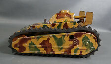 GERMAN PRE WWII TIPP&CO ARMORED SHIELD TANK MILITARY VEHICLE WIND UP TIN TOY 8''
