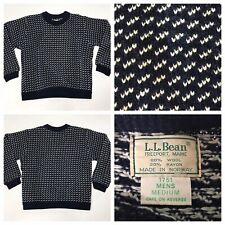 Vintage LL BEAN BIRDSEYE Mens Blue Norway Norwegian Fisherman Wool Sweater M
