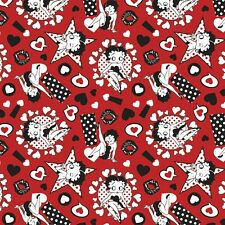 Betty Boop Sassy Red Black  By the yard x 43 inches cotton print