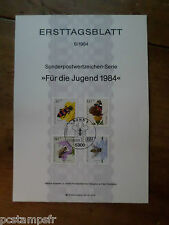 ALLEMAGNE RFA, 1984, FDC, INSECTES, SERIE TP 1034/1037, DOCUMENT 1° JOUR INSECTS