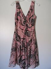 BCBG Max Azria Pink/Black Floral Ruffled Ruched Bodice Sleeveless  Dress SZ: 6
