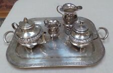 ROYAL LONDON SILVER PLATE 5 PIECE COFFEE TEA SET SERVING TRAY