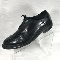 Vintage Hanover Men's Wing-Tip Brogue Oxford Shoes Black USA Size 10 ½ EEE
