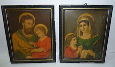 Hl. Josef mit dem Christuskind & Muttergottes mit dem Jesuskind 2 Lithografien