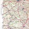 Hannover Hildesheim Seesen Hameln 1959 kl. orig. Teil-Autokarte Autobahn im Bau