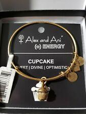 Alex and Ani BIRTHDAY CUPCAKE Gold Charm Bangle New w Tag Card & Box