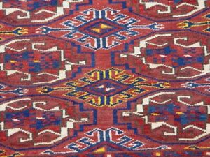 ANTIQUE TURKOMAN YOMUD TORBA SADDLE BAG FACE HAND KNOTTED WOOL RUG  2.8 x 3.7